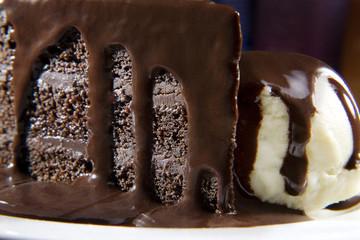 Chocolate cake with chocolate sauce and ice cream