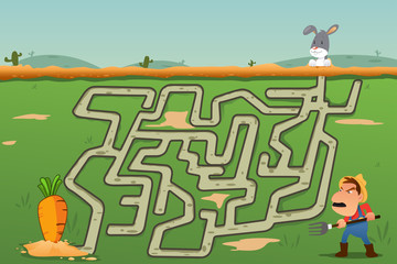 Children Maze Game of Rabbit and Carrot