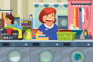Woman Doing Laundry at Laundry Place