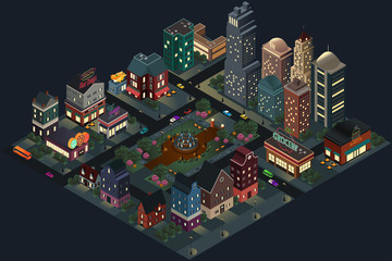 Isometric Design of City Streets and Buildings at Night