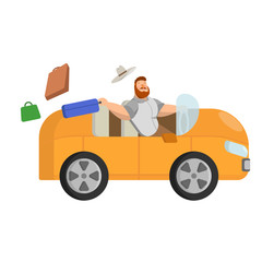 Illustration of isolated man with a hat that rides in an orange car out of a suitcase