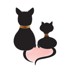 Cat and dog silhouettes doing a heart love with tails logo vector image