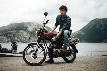 Stylish man on motorcycle