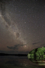 Long-exposure Night Sky and the Milky Way, over the Amazon Rainforest. Brazil
