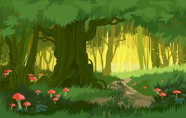 Vector illustration bright green summer magical forest vector background mushrooms