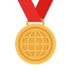 Bronze medal / award with the image of the globe on a red ribbon. Flat design