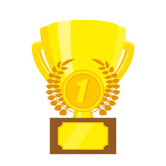 Trophy / gold Cup. Championship Cup 1st place. Vector illustration, flat design