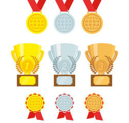 Vector set of awards. Gold, silver, bronze Trophies, medals, awards. Flat design