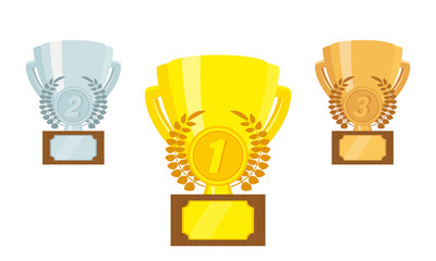 A set of trophies / awards. Gold, silver and bronze prize Cup. Vector illustration, flat design