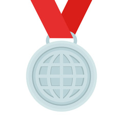 Silver medal / award with the circuit of the globe on a red ribbon. Vector illustration, flat design