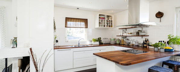 horizontal banner of fancy kitchen with wooden counter top