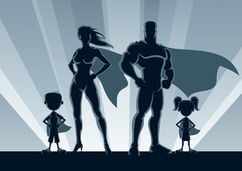 Superhero Family Silhouettes / Superhero family posing in front of lights.