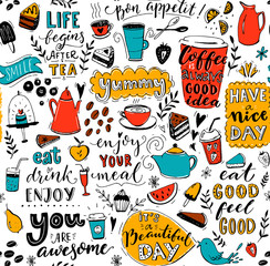 Cafe pattern with doodle tea pots, cups, inspirational quotes and desserts. Coffee is always a good idea. Eat good, feel good. Enjoy your meal. Seamless texture for menu design.