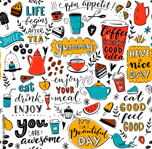 Cafe Pattern With Doodle Tea Pots Cups Inspirational Quotes And Amazing Pattern Quotes