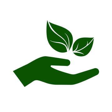 Icon of hand carefully holding green leaves. Symbol of ecology, environmental awareness, nature protection concept. Vector Illustration