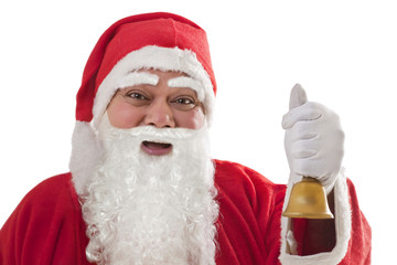 Close-up portrait of happy Santa Claus with bell against white background