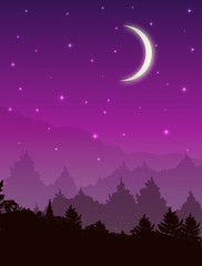 Poster Prune Vector landscape with forest at night. Pink sky with stars and glowing moon