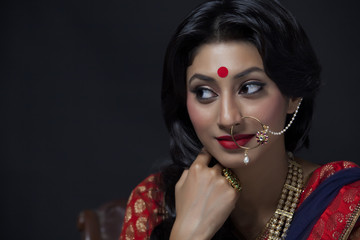 A beautiful bride with jewelery