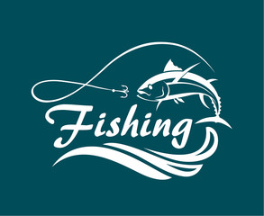 fishing emblem with tuna, waves and hook