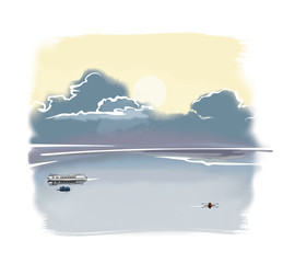 Cold northern landscape: calm water, a boat, a boat and a ship under low blue clouds and a pale sun. Computer graphics