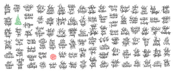 set of 100 black ink christmas and happy new year celebration