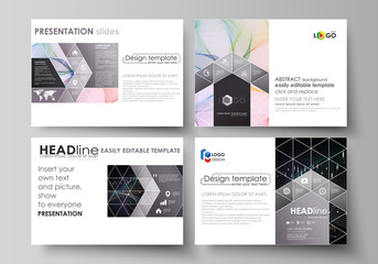 Business templates for presentation slides. Vector layouts. Colorful abstract infographic background in minimalist design made from lines, symbols, charts, diagrams and other elements.