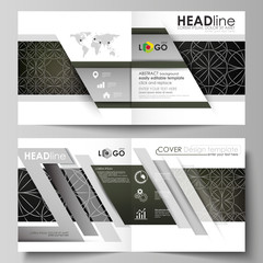 Business templates for square design bi fold brochure, magazine, flyer, booklet. Leaflet cover, vector layout. Celtic pattern. Abstract ornament, geometric vintage texture, medieval ethnic style.