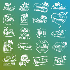 Collection of signs for natural cosmetics and beauty products. Vector illustrations on a stylized background, for cosmetics, healthcare, spa and wellness.