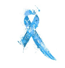 Prostate Cancer Awareness Ribbon. Watercolor blue ribbon, prostate cancer awareness symbol, isolated on white. Vector illustration