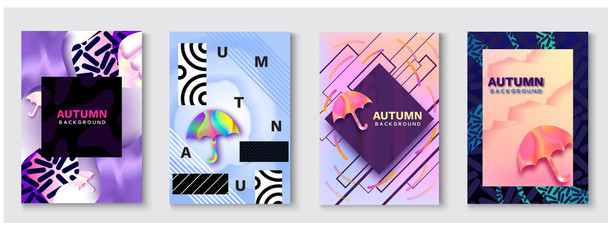 Umbrella abstract color poster set, autumn season concept in trendy 90s style with fluid gradients, lines, liquid texture, holographic background, banner, cover, invitation, flyer, vector illustration