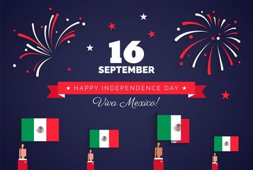 16 September. Mexico Happy Independence Day greeting card. Celebration background with fireworks, mexican flags and text. Vector illustration