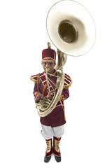 Portrait of a bandwala playing a sousaphone