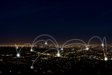 city scape and network connection concept over los angeles