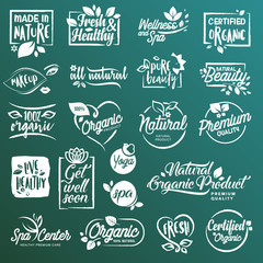 Collection of stickers and elements for natural cosmetics and beauty products. Vector illustrations on a stylized background, for cosmetics, healthcare, spa and wellness.