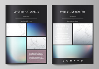 Business templates for brochure, magazine, flyer. Cover design template, vector layout in A4 size. Compounds lines and dots. Big data visualization in minimal style. Graphic communication background.