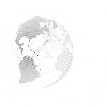 Abstract futuristic network shapes. High tech background, connecting lines and dots, polygonal texture. Black world globe on white. Global network connections, geometric design, dig data concept.