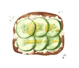toast with cucumber, olive oil and white sauce or cheese, watercolor illustration for cookbook, recipe, menu design