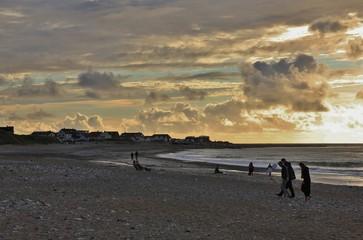 Klitmoller at sunset. Scene at the west coast of Denmark.