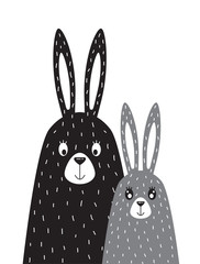 family of rabbits in the Scandinavian style