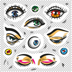 Eyes fashion stickers patch badges isolated