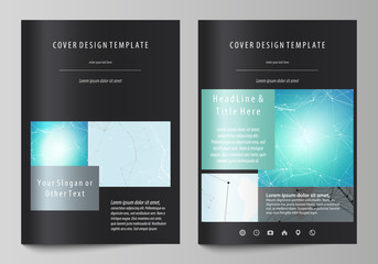 The black colored vector illustration of the editable layout of A4 format covers design templates for brochure, magazine, flyer, booklet. Futuristic high tech background, dig data technology concept.