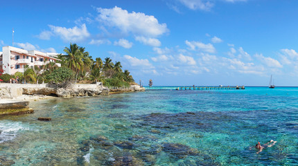 "Best snorkeling spot in Mexico / Crystal clear water in bay nearby ""Garrafon"" on Isla Mujeres in Mexico"