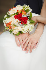 Hands of Bride and groom showing their wedding rings