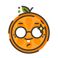 Cute smile emoji wearing glasses. Smiley smart orange fruit emoji with glasses. Vector flat design emoticon icon isolated on white background.