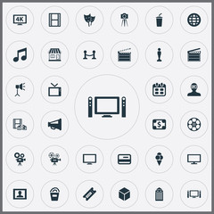 Vector Illustration Set Of Simple Cinema Icons. Elements Television, Home Cinema, Presenter And Other Synonyms Bill, Ancient And Man.