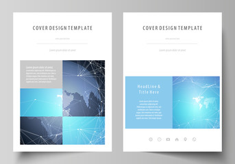 The vector illustration of the editable layout of A4 format covers design templates for brochure, magazine, flyer, booklet, report. Abstract global design. Chemistry pattern, molecule structure.