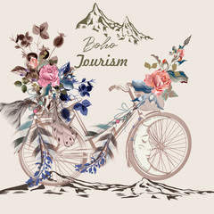 Beautiful boho illustration with bicycle in tribal style with feathers, flowers and arrows