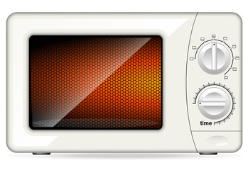 White plastic microwave oven. Mechanical control.