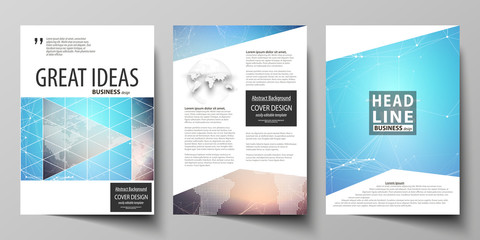 The vector illustration of editable layout of three A4 format modern covers design templates for brochure, magazine, flyer, booklet. Molecule structure. Science, technology concept. Polygonal design.