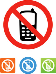 No Cell Phones Icon - Illustration